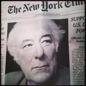 New York Times announcing Heaney's death.