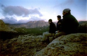 The poet (in bandanna) and pals, Wind River Range, Wyoming, Summer 2001. Photo by Joshua Sheldon.